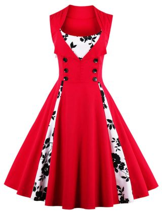 Plus Size 50S Audrey Hepburn Vintage Dress Red Floral Printed Double-breasted Sleeveless Midi Swing Summer Dresses