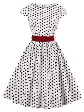 Plus Size Vintage Audrey Hepburn Dress White Polka Dots Printed 50S Short Sleeves Belted Midi Swing Summer Dresses