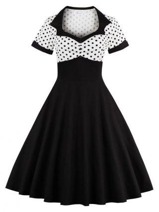 Plus Size Summer Vintage Dress Polka Dots Printed Short Sleeves 50S Audrey Hepburn Swing Midi Black Dresses