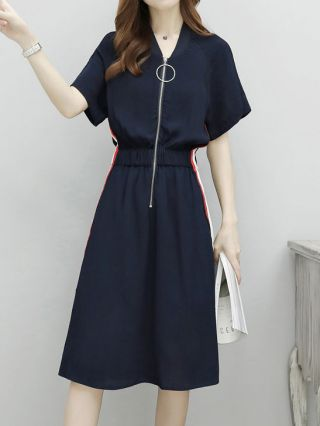 Summer Casual Dress Navy V-neck Zip Up Striped Short Sleeves Chiffon Dresses With Pockets
