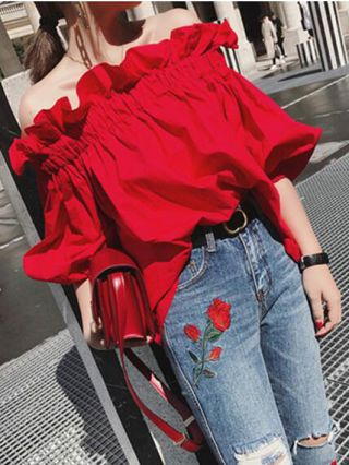 Red Off Shoulder Ruffled Half Bubble Sleeve Cotton Casual Blouses For Women