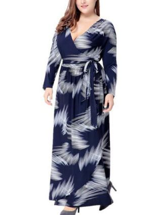 Plus Size Long Wrap Dress Navy Floral Printed V-neck Long Sleeves Maxi Belted Dresses