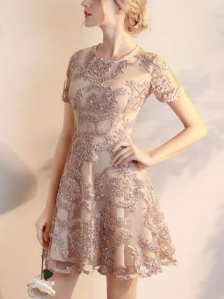 Short Graduation Dresses Champagne Lace Embroidered Short Sleeves Homecoming Bridesmaid Dress