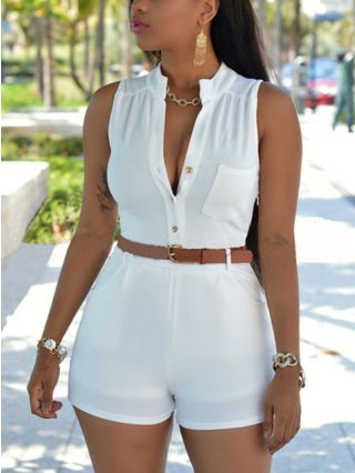 Plus Size Casual Single-breasted Sleeveless Pocket High Waist Rompers With Belt