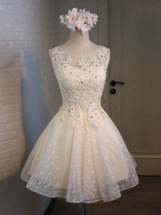 Champagne Short Graduation Homecoming Dress Lace Embroidered Beading Summer Bridesmaid Dresses