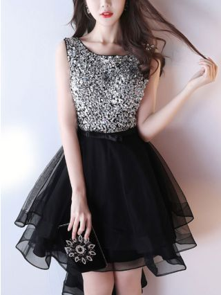 Black Red Short Graduation Dresses Sequined Sleeveless Mesh Backless Homecoming High Low Cocktail Dress