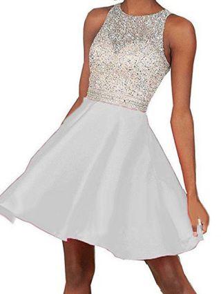 Plus Size Short Graduation Dresses Sleeveless Sequined Backless Wedding Summer Tank Dress