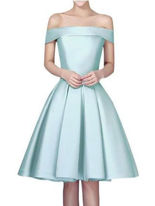 Plus Size Summer Graduation Homecoming Dresses Off Shoulder Backless Lace-up Cocktail Bridesmaid Satin Dress