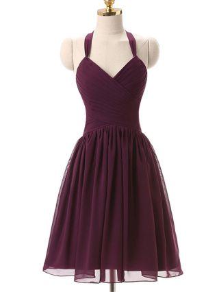 Plus Size Short Graduation Dresses Purple Halter Backless Summer Chiffon Bridesmaid Homecoming Dress