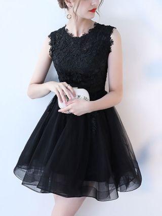 Plus Size Short Graduation Dresses Elegant Lace Embroidered Stitching Gauze Summer Cocktail Dress