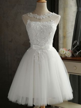 Plus Size Short Bridesmaid Dresses White Bow Lace Embroidered Stitching Mesh Summer Homecoming Graduation Dress