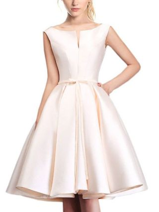 Plus Size Short Graduation Homecoming Dress Backless Lace-up Wedding Cocktail Summer Satin Dresses