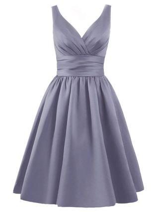 Plus Size Summer Cocktail Dress V-neck Satin Backless Lace-up Short Graduation Homecoming Dresses