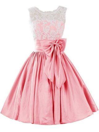 Short Graduation Dress Sleeveless Bow Lace Chiffon Bridesmaid Dresses