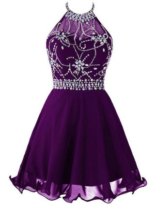 Plus Size Short Homecoming Dress Sleeveless Halter Diamand Chiffon Summer Bridesmaid Dresses