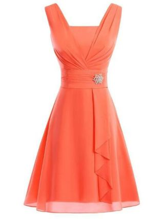 Short V-neck Ruffled Chiffon Cocktail Summer Elegant Dresses