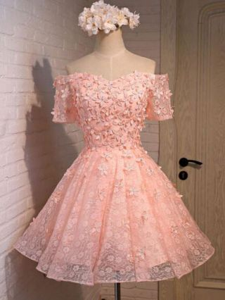 Short Graduation Dress Pink Champagne Off Shoulder Beading Floral Lace Mesh Backless Lace-up Bridesmaid Homecoming Summer Dresses