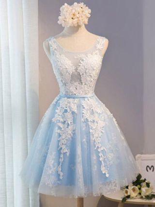 Blue Short Graduation Dress Lace Embroidered Mesh Lace-up Bridesmaid Cocktail Summer Dresses