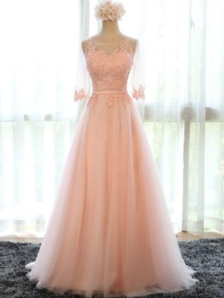 Long Prom Evening Dress Mesh Lace Embroidered Half Sleeve Empire Waist Lace-up Wedding Bridesmaid Gown Dresses