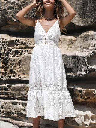 White Lace Summer Dress Straps V-neck Open Back Hollow Single Breasted Midi Swing Dresses