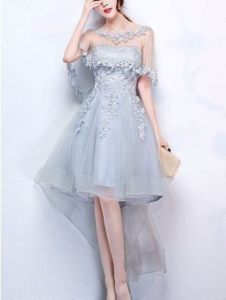 High-low Homecoming Dress Strapless Bandeau Lace Stitching Tulle Prom Bridesmaid Graduation Dress with Shawl