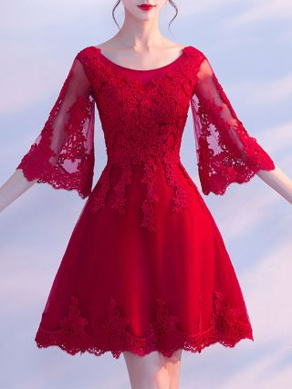 Plus Size Short Homecoming Dresses Bell Sleeve Lace Stitching Prom Bridesmaid Dresses