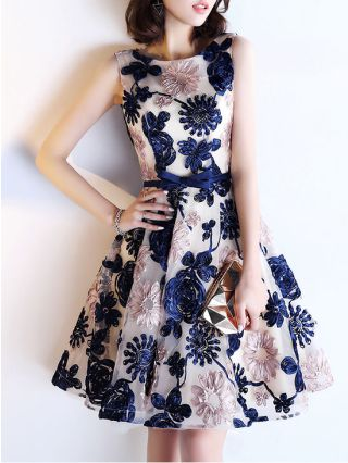 Embroidery Bowknot Short Homecoming Dresses Backless Lace-up Elegant Evening Party Dresses