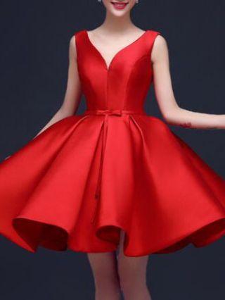 Red Short Homecoming Dresses Bowknot Satin Midi Swing Evening Prom Dress