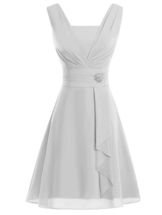 Plus Size Short Homecoming Dresses Draped Chiffon Bridesmaid Evening Prom Dresses