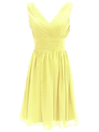 Plus Size Chiffon Homecoming Dresses Draped V-Neck Short Graduation Dress Bridesmaid Evening Prom Dresses