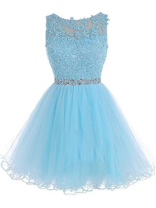 Plus Size Short Homecoming Dress Rhinestone Beading Tulle Evening Prom Dresses