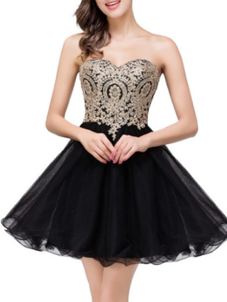 Short Strapless Homecoming Prom Dress Chiffon Tulle Dress Rhinestone Beading Evening Bridesmaid Dresses