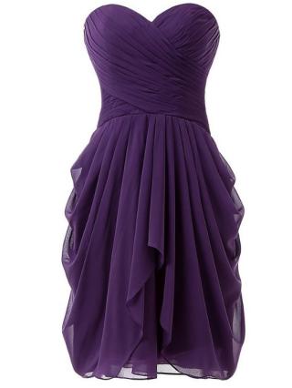 Chiffon Bandeau Short Homecoming Dress Criss-Cross Irregular Evening Prom Dresses