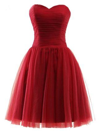 Short Homecoming Dress Mini Tube Graduation Dress Tulle Bridesmaid Evening Dresses