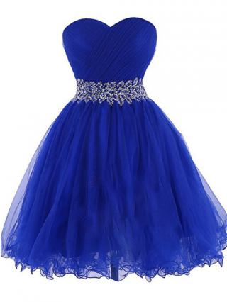 Mini Tube Homecoming Dress Diamond Lace-up Tulle Bridesmaid Evening Dresses