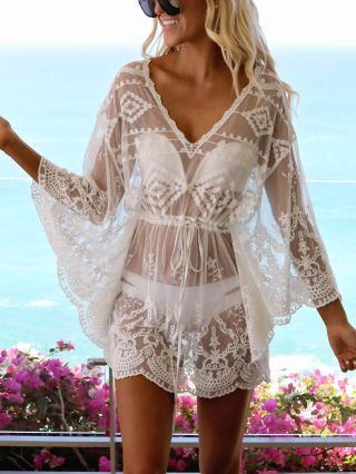 Sexy Lace Summer Dress Bikinis Cover-up V-Neck Bell Sleeve Beach Smock See-through Sun Protection Coat
