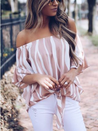 Summer Off the Shoulder Chiffon Blouse Flounced Sleeve Striped Tops