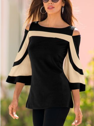 Cold Shoulder Round Neck Bat Sleeve Striped Stitching Blouse for Women