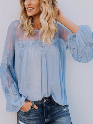 Women Lantern Sleeve See-through Lace Stitching Cotton Linen Casual Blouse