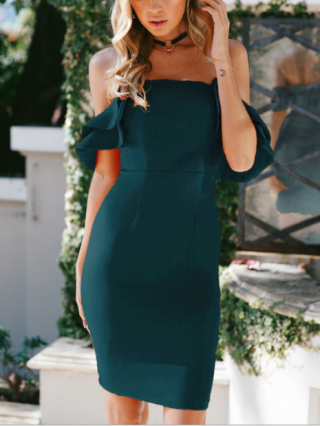 Strapless Summer Dress Bandeau Open Back Ruflled Sleeve Bodycon Midi Dresses