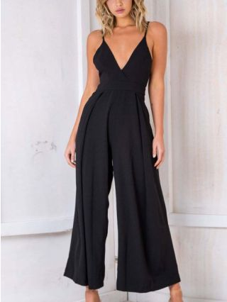 Sexy Straps V-Neck Open Back Bowknot Wide Leg Jumpsuits