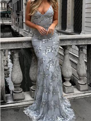 Sequins Evening Prom Dress V-Neck Open Back Bodycon Floor Length Dresses