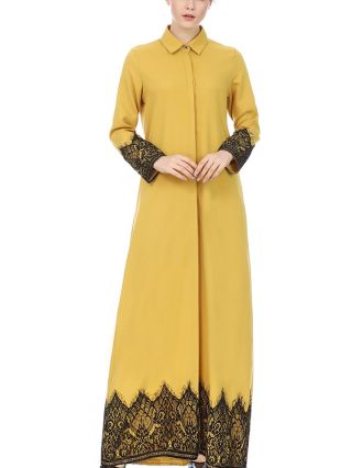 Vintage Long Sleeve Lapel Muslim Robes Lace Stitching Single Breasted Maxi Split Dresses