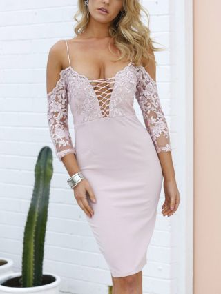 Sexy Bandeau Lace-up Cold Shoulder Lace Stitching Bodycon Split Party Club Dress