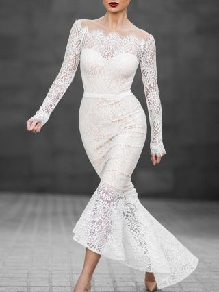 Sexy White Off the Shoulder Lace Mermaid Evening Dress
