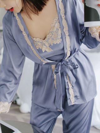 Sexy Women's Three Pieces Ice Silk Sleepwear Long Sleeve Slip Embroidery Stitching Pajamas