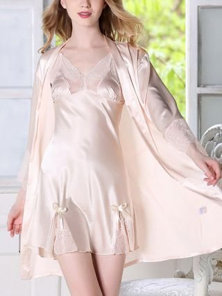 Women's Sexy Two Piece Homewear V-Neck Lace Stitching Hollow Bowknot Belted Pajamas