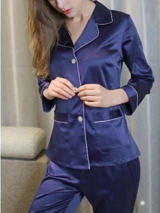Women's Two Piece Homewear Lapel Single Breasted Long Sleeve Trousers Silk Pajamas