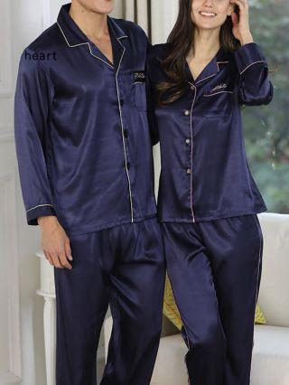Long Sleeve Couple Two Piece Set Sleepwear Lapel Single Breasted Ice Silk Pajamas