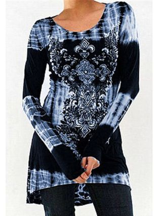 Plus Size Long Sleeve Round Neck Printed Cotton Casual Dress